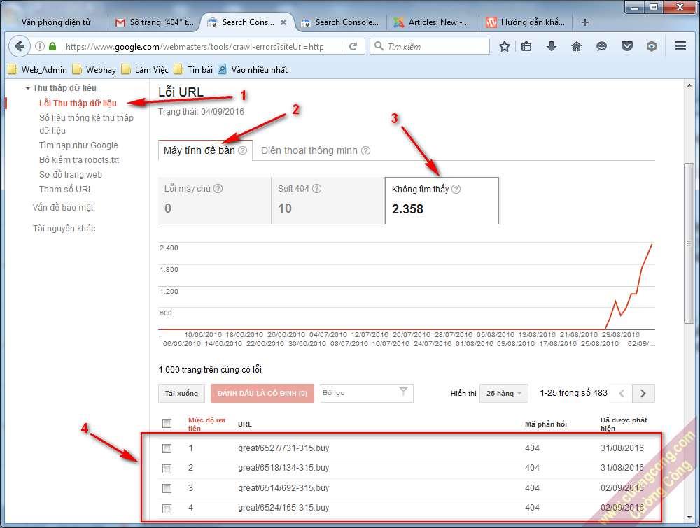 Xử lý lỗi 404 trong Google Webmaster Tools