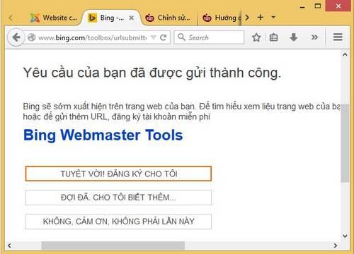 đăng ký website với bing