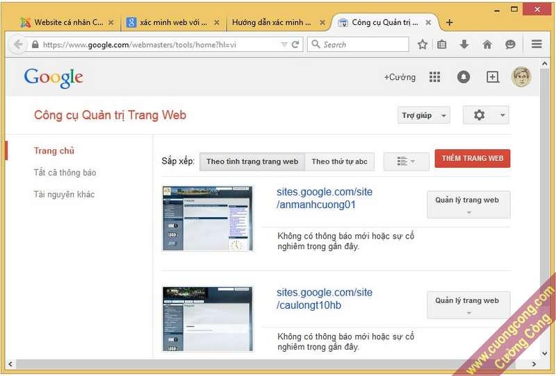 xác minh website với google