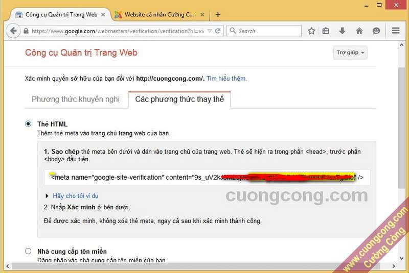 Xác minh website với Google bằng thẻ meta