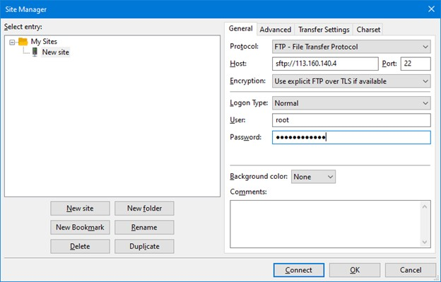 Site manager kết nối sFTP bằng FileZilla