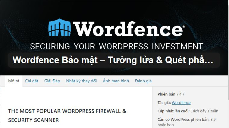 Wordfence Security – Plugin Bảo mật website wordpress