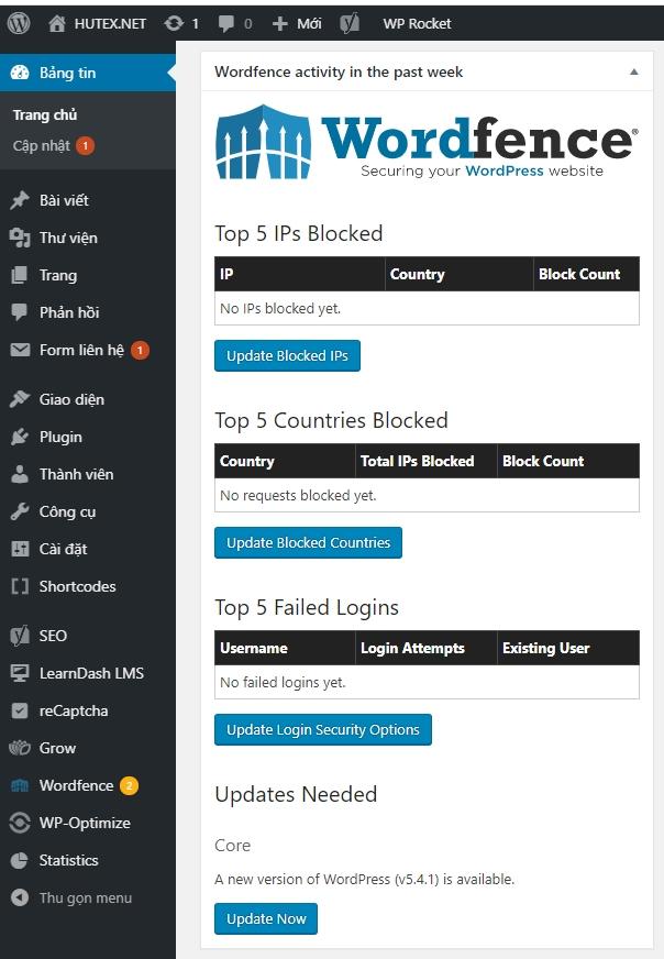 báo cáo nhanh của wordfence security