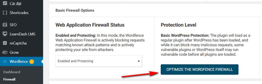 Thiết lập Firewall Protection Level
